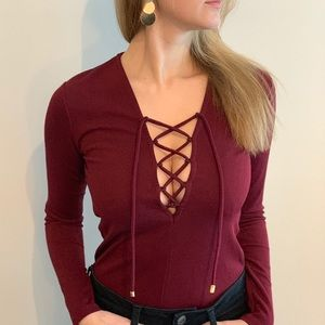 Dynamite burgundy lace front long sleeve shirt